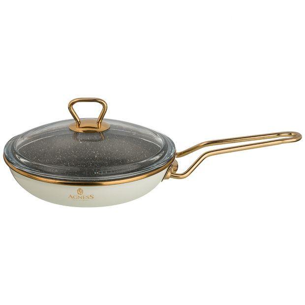 """Сковорода agness эмалированная со стекл. крышкой и антипригар. """"мраморным"""" покрытием, 20см-950-206"""