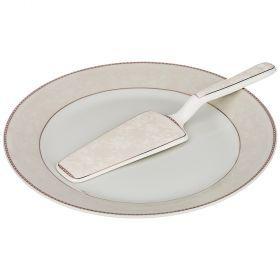 Блюдо для торта с лопаткой диаметр=23 см. высота=2 см. (кор=20шт.)-389-506