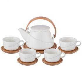 Чайный набор на 4 персоны 10 пр. чайник+ 4 чайные пары объем чашки = 850/180 мл-235-123