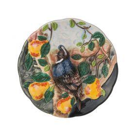 Тарелка декоративная птица в саду диаметр=20 см. высота=5 см.