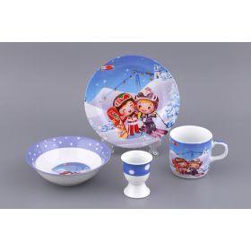 Наборы посуды на 1 персону 4пр.:миска,тарелка,кружка 200 мл.,подставка под яйцо (кор=12наб.)-87-050