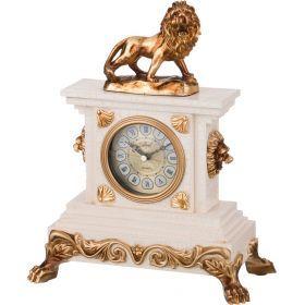 Часы настольные кварцевые лев цвет:белый с золотом 24,5*12,8*31,5 см. диаметр циферблата=8 см.
