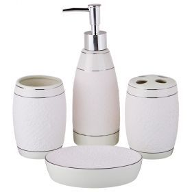 Набор для ванной комнаты 4 пр.:дозатор для мыла, мыльница, стакан для зубных щеток , стакан (кор=12к-755-206