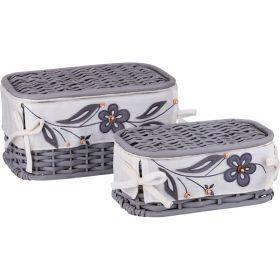 Набор корзин для белья с крышкой и чехлом из 2 шт.17*34*20/11*28*15 см. без упаковки-131-225