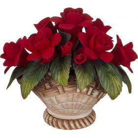 Изделие декоративное корзинка с розами 14*11*12 см.