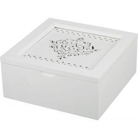 Шкатулка для чая белая с 4-мя секциями 18*18*8,2 см.-255-108