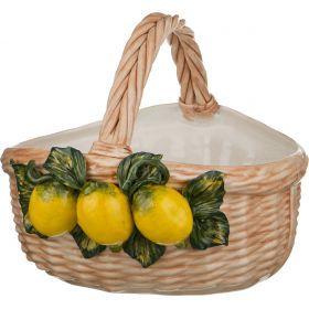 Корзина с лимонами высота=28 см диаметр=33 см.