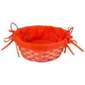 Корзинка плетенная с ручками с тканевой вставкой цвет:оранжевый  диаметр=23 см  высота=9 см (кор=96ш-147-311