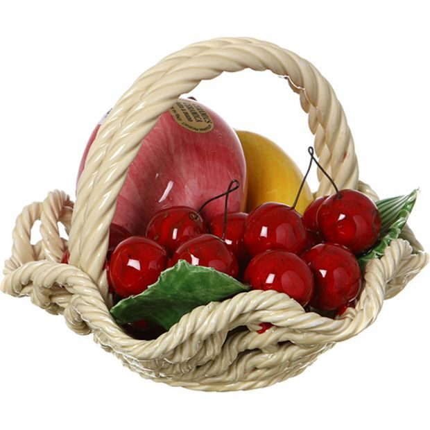 """Изделие декоративное """"корзина с фруктами"""" диаметр=18 см. высота=13 см.-335-096"""