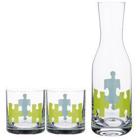 Набор для воды: графин + 2 стакана 1100/450 мл., высота=30,5/9,5 см.-674-710