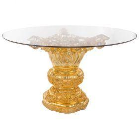 Стол интерьерный + стекло диаметр=130 см. высота=81 см.-93-304