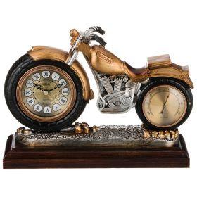 Часы настольные кварцевые с термометром мотоцикл 29,5*10*22 см. диаметр циферблата=8 см.