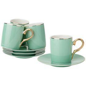 Кофейный набор на 4пер. 8пр. 90мл, зелено-голубой (кор=12наб.)-91-060
