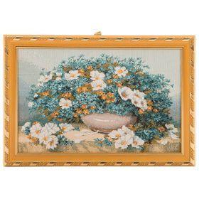 Гобеленовая картина роскошный голубой букет 29х21см.