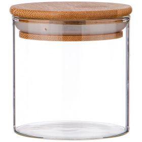 Емкость для сыпучих продуктов 300 мл. с бамбук.крышкой диаметр=8 см. высота=8 см. (кор=48шт.)-250-144