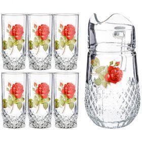 Набор: кувшин 1340 мл + 6 стаканов 300 мл. высота=24/13,5 см. (кор=4набор.)-381-1031
