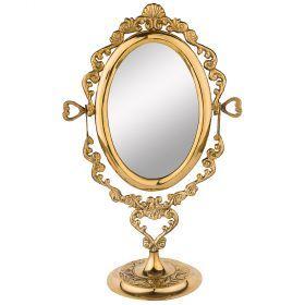 Зеркало настольное 18*10 см. высота=30 см. латунь (кор=24шт.)-733-104
