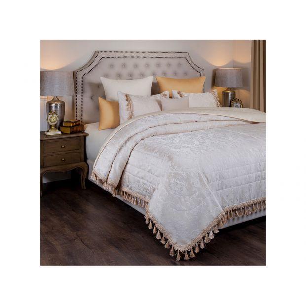 """Комплект на кровать из покрывала и 2-х нав """"версаль"""",шампань вазоны ,250х230,50х70,100% полиэстр-850-900-93"""