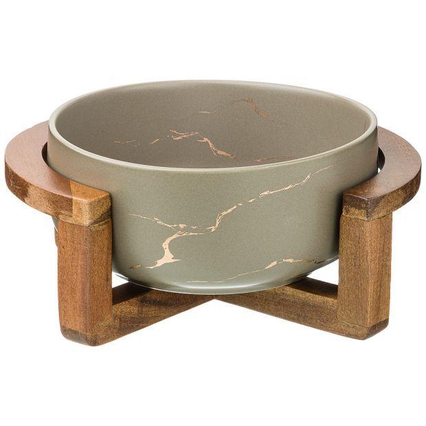 """Салатник на деревянной подставке  коллекция """"золотой мрамор"""" цвет: gray 23*19,*10 см-412-144"""