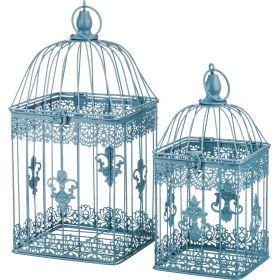 Набор клеток для птиц декоративных из 2-х шт.l:18*18*38,s:14*14*30 см-123-143