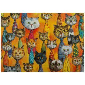 Открытка кошки в галстуках 15*10,5 см.