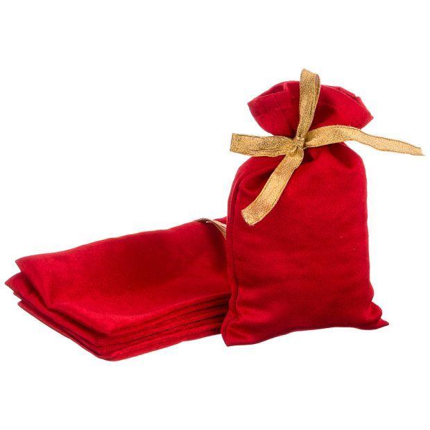 """Набор мешочков подарочных из 5шт """"сувенир"""", 20х13см, 100%пэ, атлас красный-850-002-1"""