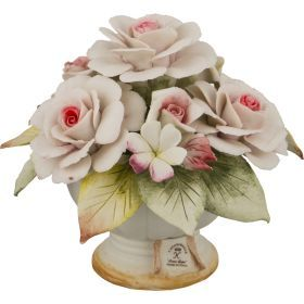 Декоративная корзина с цветами розы 17*17*13 см.