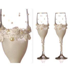 Набор бокалов для шампанского из 2 шт. с золотой каймой 170 мл.-802-510093