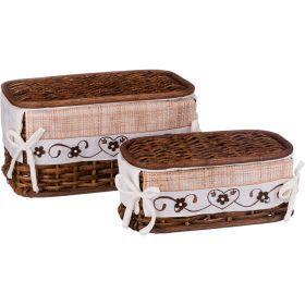 Набор корзин для белья с крышкой и чехлом из 2 шт.17*33*20/11*28*15 см.-131-255