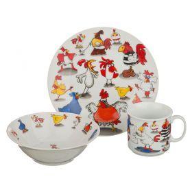 Обеденный набор на 1 персону 3 пр: тарелка 2шт+чашка 200 мл-356-102