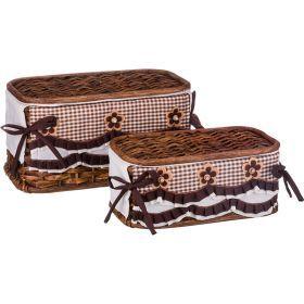 Набор корзин для белья с крышкой и чехлом из 2 шт.17*33*20/11*28*15 см. без упаковки-131-250
