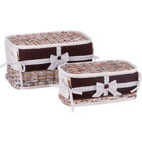 Набор корзин для белья с крышкой и чехлом из 2 шт. 17*33*20/11*28*15 см. без упаковки-131-215