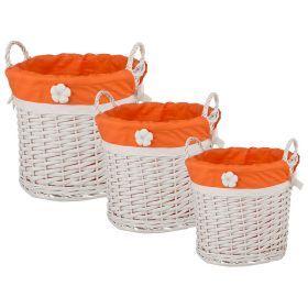 Набор корзинок для хранения с ручками  из 3-х шт. l:ф38*30/m:ф30*26/s:ф23*22 см.-190-157