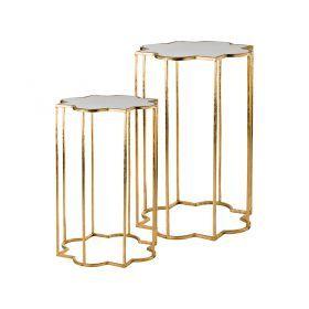 Набор из 2-х дизайнерских подставок l:40*40*60 см,s:31*31*55 см  цвет:состаренное золото,слоновая ко-218-057