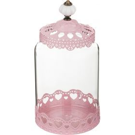Банка для сыпучих продуктов розовая 12*16 см.-158-141