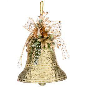 Декоративное панно колокольчик цвет:золотой 20 см без упаковки (кор=120 шт.)-161-174