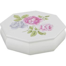 Шкатулка для украшений белая с цветами 17*4,8*17 см.-255-137