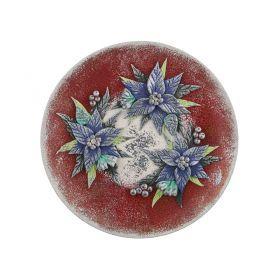Тарелка декоративная на подставке рождественская звезда лепка диаметр=20 см.