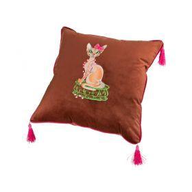 Подушка мурка 45х45, коричневая, вышивка