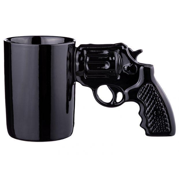 """Кружка """"пистолет"""" черный 500 мл.21*11,5 см.-383-634"""