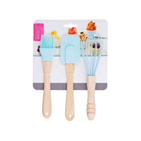 Набор кухонных принадлежностей 3пр.: кисточка, лопатка, венчик-705-611