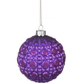 Декоративное изделие шар стеклянный диаметр=8 см. высота=9 см. цвет: фиолетовый-862-117