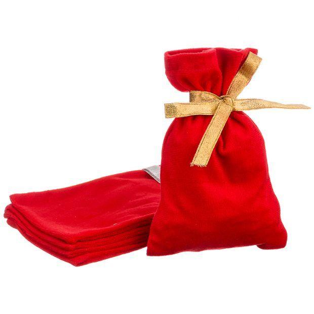 """Набор мешочков подарочных из 5шт """"сувенир"""", 20х13см, 100%пэ, плюш красный-850-002-3"""