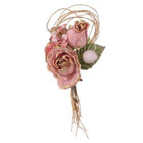 Цветок искусственный роза длина=23см на клипсе
