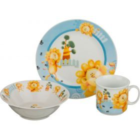 Обеденный набор на 1 персону 3 пр: тарелка 2шт+чашка 200 мл-356-130