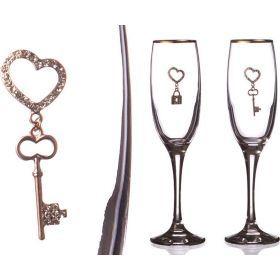 Набор бокалов для шампанского из 2 шт. с золотой каймой 170 мл.-802-510643