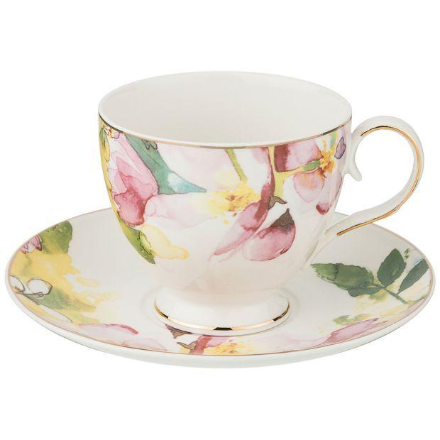 """Чайный набор на 1 персону, 2 пр. """"цветы"""", 250 мл-275-1148"""