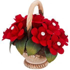 Изделие декоративное корзинка с розами 15*10*14 см.