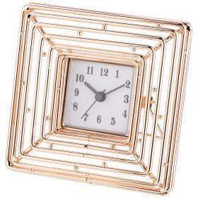 Часы настольные 14*14*11 см. диаметр циферблата 5,5 см. (кор=12шт.)-06-242