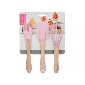 Набор кухонных принадлежностей 3пр.: кисточка, лопатка, венчик-705-612